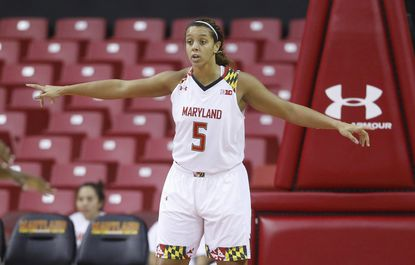 Maryland center Malina Howard guards under the basket in the second half of an NCAA basketball game against Southern on Friday, Dec. 11, 2015, in College Park.