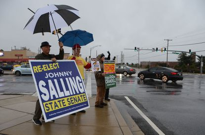 Republican state Sen. Johnny Ray Salling, shown here campaigning in Dundalk in 2018, is running for Congress in the 2nd Congressional District. He's seeking the GOP nomination to challenge the incumbent, U.S. Rep. C.A. Dutch Ruppersberger, a Democrat.