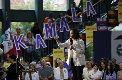 Democratic presidential candidate Sen. Kamala Harris, D-Calif., speaks at a rally Monday, Aug. 12, 2019, in Davenport, Iowa.