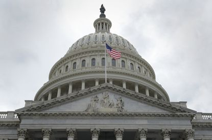 With all eight of the state's U.S. House members on ballots in Tuesday's primary, their opponents find themselves as underdogs — not only for the usual reasons, but because the new coronavirus has limited their ability to become better known. A flag flies in 2017 in front of the U.S. Capitol dome in Washington.