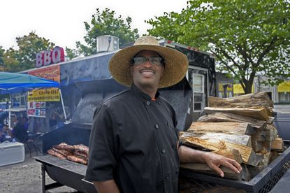 Grillmaster Bo Rose at Up in Smoke BBQ on Liberty Road near Rolling Road.