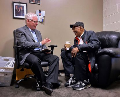 Hall of Famer Willie Mays is interviewed by sports writer John Shea in the San Francisco Giants clubhouse at Oracle Park on Monday, February 3, 2020 in San Francisco, California. (Photo by Brad Mangin)