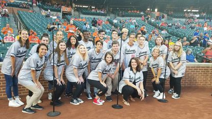"Dulaney High School Chamber Choir had the honor of singing the National Anthem at Oriole Park at Camden Yards on Aug. 29. As an added bonus the group also performed ""O Canada"" as the opponent that evening was the Toronto Blue Jays."