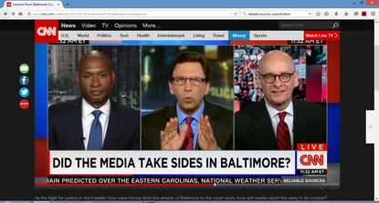 """Charles Blow, of the New York Times, host Frank Sesno and I discuss media coverage of the Freddie Gray story on CNN's """"Reliable Sources"""" Sunday."""