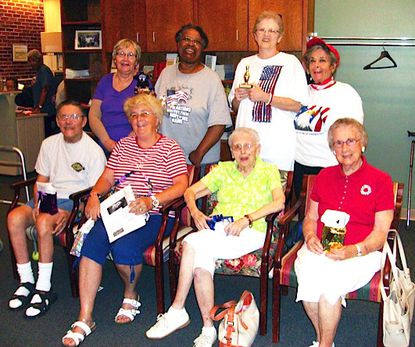 Wii bowling tournament participants were back row from left, Cathy Klauza, Vera Waters (champion), Marilyn DeWald (first runner up) and Rai Levi. Front Row from left, Bobby Rybikowsky (former champion), Jeanne Rybiklowsky, Ruth Higgs and Helen Fisher.