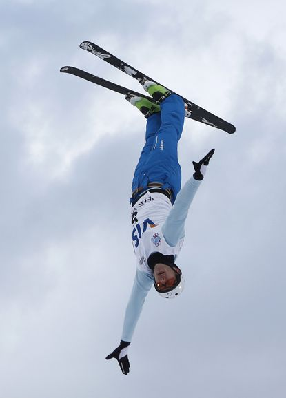 Anton Kushnir of Belarus competes during the qualifying round of the men's FIS World Cup aerial ski jump competition. (Jim Urquhart/USA TODAY Sports Photo)