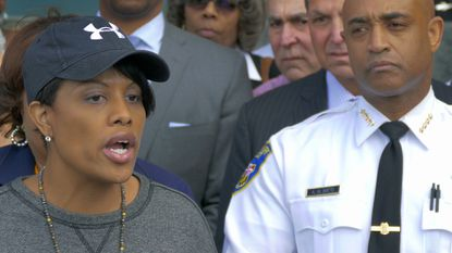 Baltimore Mayor Stephanie Rawlings-Blake and police Commissioner Anthony J. Batts address the media on April 28, the day the citywide curfew took effect.