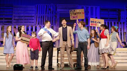"""Cast of Silhouette Stages' """"Big Fish"""" from left to right: Christa Kronser, Missy Spangler, Samuel Greenslit, John Machovec, Luis Matty Montes, Drew Sharpe, Emily Machovec, Emily Alvarado and Emily Mudd."""