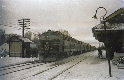 A northbound B&O passenger train on the railroad's Royal Blue line between Washington, D.C. and New York City stops at Aberdeen to pick up passengers in the early 1950s. Passenger service on the line ended in 1958.