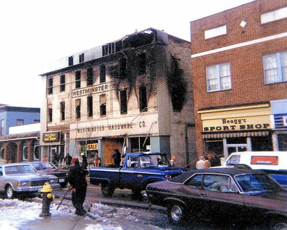 The Westminster Hardware Company, located in the historic Orendorff building at 18 West Main Street in Westminster, was destroyed by a four-alarm fire on Dec. 16, 1981.