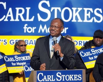 Carl Stokes, a member of the Baltimore City Council, announces that he is running for Mayor of the city.