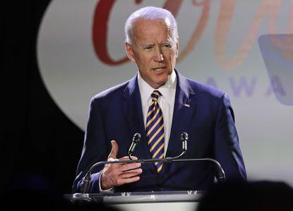 Former Vice President Joe Biden speaks at the Biden Courage Awards on March 26 in New York.