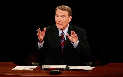 The late Jim Lehrer speaks during the first of three presidential debates before the 2008 election September 26, 2008 in the Gertrude Castellow Ford Center at the University of Mississippi in Oxford, Mississippi.