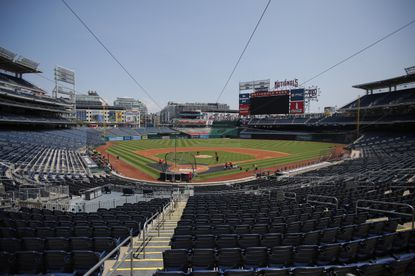 An empty Nationals Stadium is viewed during a baseball training camp workout Sunday, July 5, 2020, in Washington. The Nationals canceled workouts on Monday due to a delay in testing results.