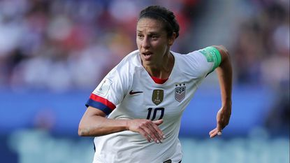 U.S. forward Carli Lloyd runs during the team's victory over Chile in the Women's World Cup on Sunday. Lloyd has thrived in the Women's World Cup, scoring in a record six consecutive games dating to the 2015 tournament.