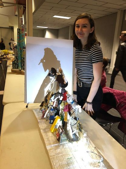 Jorja Rodgers, of Century High School, took home a top prize at the Rethink Recycling contest with her sculpture, which shows Selena Quintanilla in silhouette when light shines on it at a specific angle.