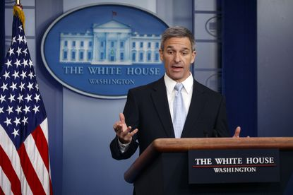 Acting Director of United States Citizenship and Immigration Services Ken Cuccinelli, speaks during a briefing at the White House on Aug. 12, 2019.