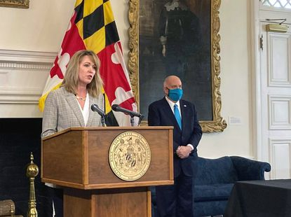 Maryland Commerce Secretary Kelly Schulz speaks March 9 following an announcement by Gov. Larry Hogan at the State House in Annapolis. Schulz launched a campaign last week as a Republican candidate for governor, the only woman to throw her hat in the ring thus far.