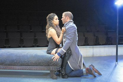 """Who's in charge here? An audition becomes a battle of wills between Thomas, played by Elan Zafir, and Vanda, played by Kathryn Tkel, in Rep Stage's """"Venus in Fur."""""""