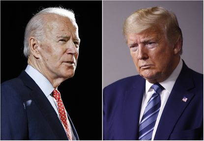 FILE - In this combination of file photos, former Vice President Joe Biden, left, speaks in Wilmington, Del., on March 12, 2020, and President Donald Trump speaks at the White House in Washington on April 5, 2020.