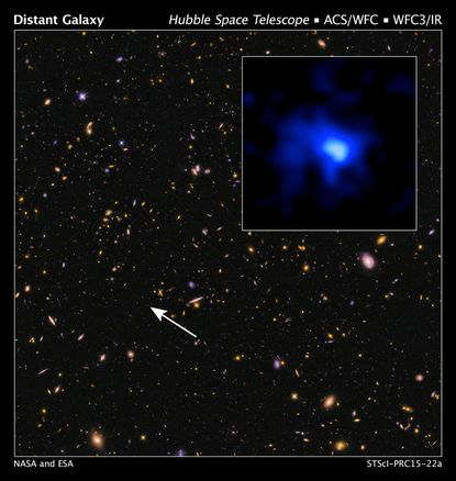 This Hubble Space Telescope image shows the farthest confirmed galaxy observed to date.