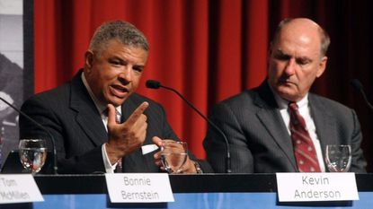 """Maryland athletic director Kevin Anderson, left, and Big Ten commissioner Jim Delany during the """"Maryland to the Big Ten: Charting the Future, Remembering the Past"""" panel discussion at the eighth annual Shirley Povich Symposium."""