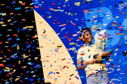 Zaila Avant-garde, 14, an eighth grader from New Orleans, reacts to winning the Scripps National Spelling Bee in Orlando, Fla., July 8, 2021. (Scott McIntyre/The New York Times)