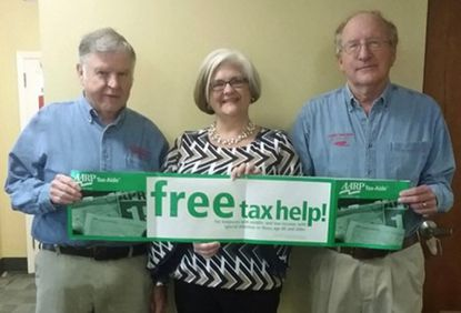 From left, Joe Daniloski, Communications Coordinator for the Harford County Tax-Aide program; Karen Winkowski, Administrator, Harford County Office on Aging; and Lynn Garrison, AARP Tax-Aide Program District Coordinator for Harford County, help announce the start of this year's Tax-Aide program.
