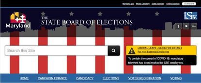 Maryland State Board of Elections website