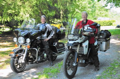 Marjorie White, right, and Lisa Niner plan to cross the country as part of the Sisters' Centennial Motorcycle Ride. White, of Finksburg, lost her son to a fatal crash in 2013.
