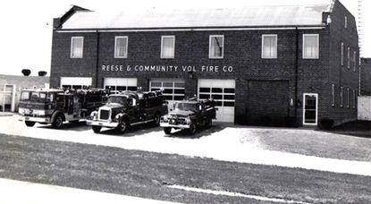 The Reese & Community Volunteer Fire station and equipment, taken from the Md. 140 median strip just after a snowstorm in approximately 1968, shows from left: a 1968 International C08190 Custom, 1958 International Commercial Chassis, and a 1963 Brush Truck International Chassis.