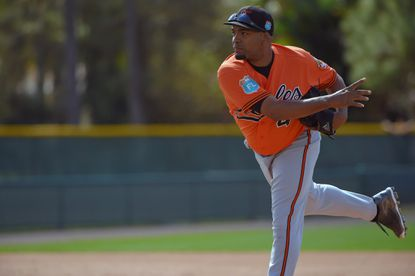 Baltimore Orioles pitcher Odrisamer Despaigne at the first day of workouts for position players as well as pitchers and catchers on the field during spring training at the Ed Smith Stadium complex.