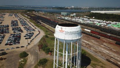 The Tradepoint Atlantic logo adorns a water tower on the site of the former Bethlehem Steel mill in Sparrows Point.