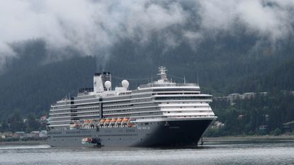 Carnival's Holland America Westerdam is shown in Juneau, Alaska. A federal judge in Miami threatened this week to temporarily block Carnival Corp. from docking cruise ships at ports in the United States as punishment for a possible probation violation.