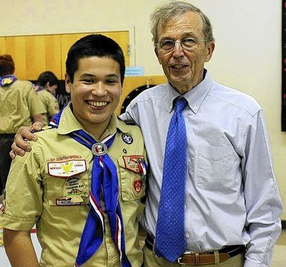 Eagle Scout Alex Robinson is seen at his Court of Honor ceremony on May 24 with his grandfather, George Robinson, who attained the rank of Eagle in 1956.