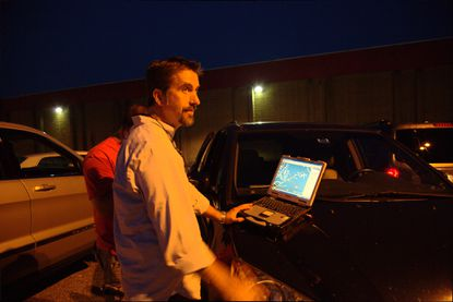 Lt. Lee Dunbar, watch commander of the Harford County Narcotics Task Force, on nighttime surveillance.