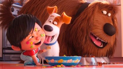 "Liam, voiced by Henry Lynch, from left, Max, voiced by Patton Oswalt, Duke, voiced by Eric Stonestreet in a scene from ""The Secret Life of Pets 2."""