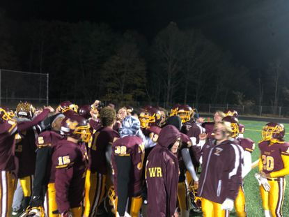The Hereford football team celebrates its win over Patterson in a Class 2A North opening-round playoff game Nov. 8, 2019.