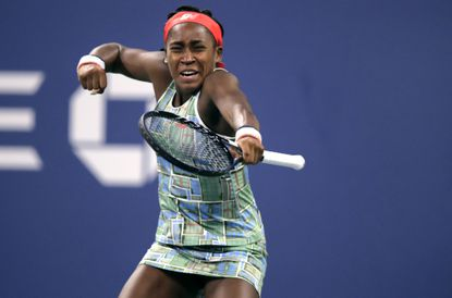 Coco Gauff, of the United States, celebrates after defeating Timea Babos, of Hungary, during the second round of the U.S. Open tennis tournament in New York, Thursday, Aug. 29, 2019. (AP Photo/Charles Krupa)