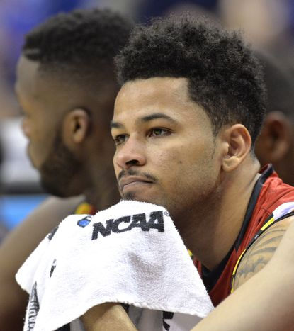 Maryland guard Jaylen Brantley sits on the bench during the team's 79-63 loss to Kansas Thursday night in the NCAA Tournament's Sweet 16.