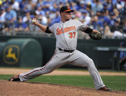 Dylan Bundy of the Baltimore Orioles throws in the eighth inning against the Kansas City Royals at Kauffman Stadium on April 24, 2016 in Kansas City, Missouri.