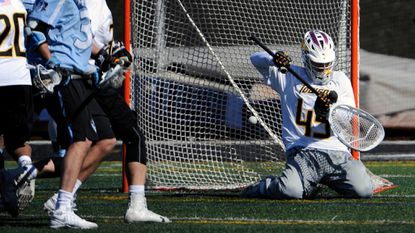 Senior goalkeeper Josh Miller (seen giving up a goal to Johns Hopkins on March 11, 2017) and his defensive teammates will try to help Towson to a third win in four meetings against the Blue Jays on Saturday.