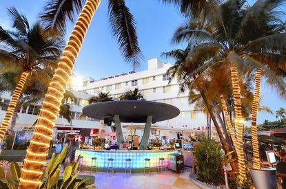 The Clevelander hotel on Ocean Drive in Miami has a rooftop bar that rarely charges admission.