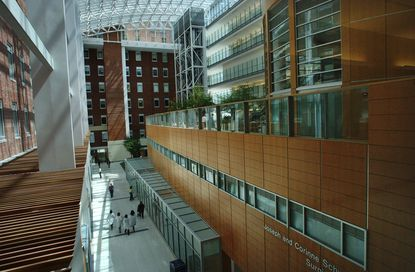 University of Maryland Medical Center's Weinberg Atrium. The hospital and the University of Maryland School of Medicine are home to some of the state's most highly paid employees.