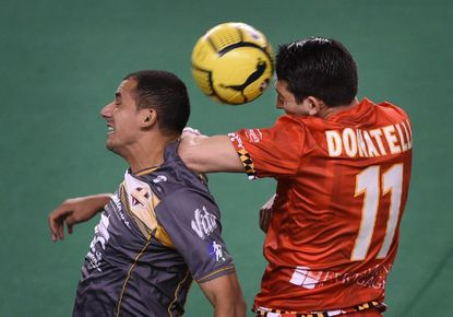 The Blast's Tony Donatelli, right, battles for a header against Sonora's Raymundo Contreras, left, in the quarter of Game 1 of the 2016 MASL championship series April 10 at Royal Farms Arena. The Blast won, 7-4. Donatelli scored the title-clinching goal in overtime of Game 2.