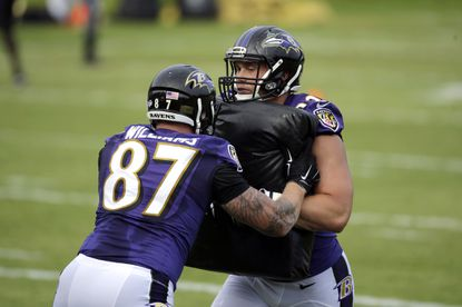Ravens tight end Maxx Williams (87) and Nick Boyle run a drill at the team's first day of training camp, Thursday, July 30, 2015, in Owings Mills.