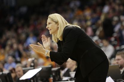 Maryland head coach Brenda Frese instructs her team against Duke during the first half of a women's college basketball regional semifinal game in the NCAA tournament on March 28 in Spokane, Wash.