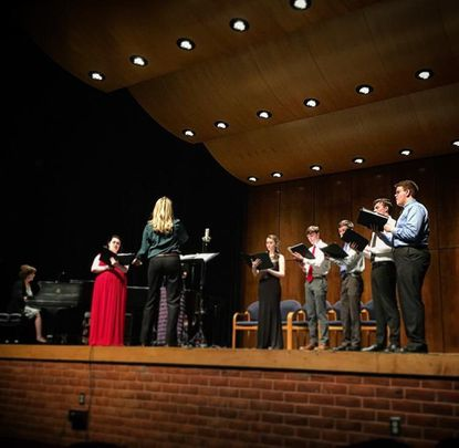 Carroll Community College's Chamber Vocal Ensemble performs in concert under the direction of Stephanie Schmidt. (Courtesy Photo / Eric McCullough)