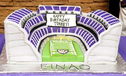 A stadium cake was presented to Baltimore Ravens player Torrey Smith at the Olive Tree Restaurant in Aberdeen Sunday evening. Smith turned 24 on Saturday