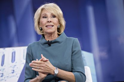 Education Secretray Betsy DeVos speaks during a discussion at the Conservative Political Action Conference (CPAC) in National Harbor in February,.